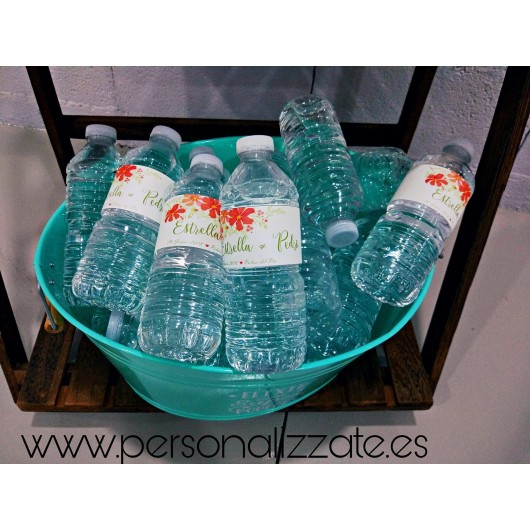 Etiquetas adhesivas personalizadaspara botellas de agua pequeñas